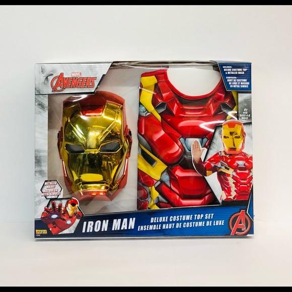 Iron man boys deluxe costume top set